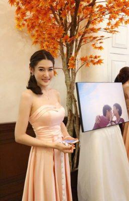 ชุดแต่งงาน ชุดออกงาน ชุดราตรี ให้เช่า สวย สีชมพู