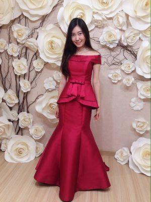 ชุดแต่งงาน ชุดออกงาน ชุดราตรี ให้เช่า สวย สีแดง